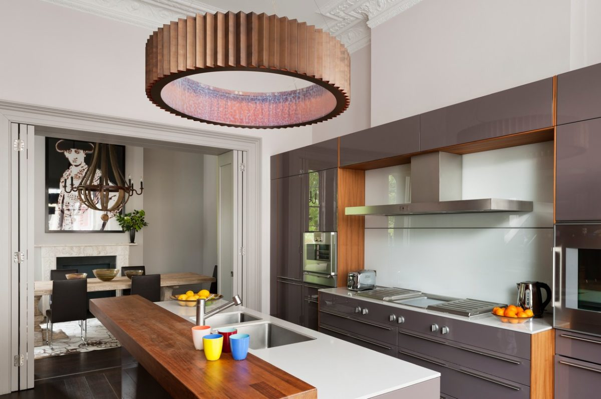 Large copper light fitting in Bulthaup kitchen
