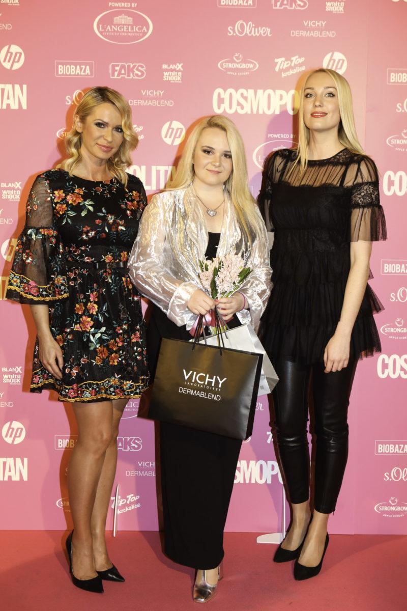 Kaja Pavlinić, dobitnica nagrade COSMO studentica powered by Vichy Dermablend, Renata Sopek i Maja Hunjak Štula iz tvrtke L'Oreal Adria