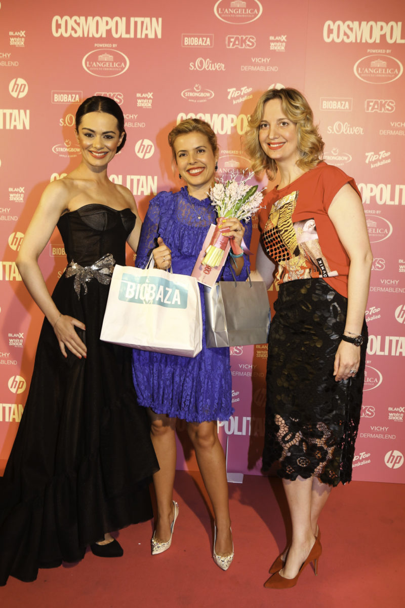 Kristina Krepela i Ankica Kovač, dobitnica nagrade COSMO znanstvenica godine, powered by BIOAZA, i Tea Matoš, direktorica marketinga Biobaza, prirodne kozmetike farmaceutske kvalitete