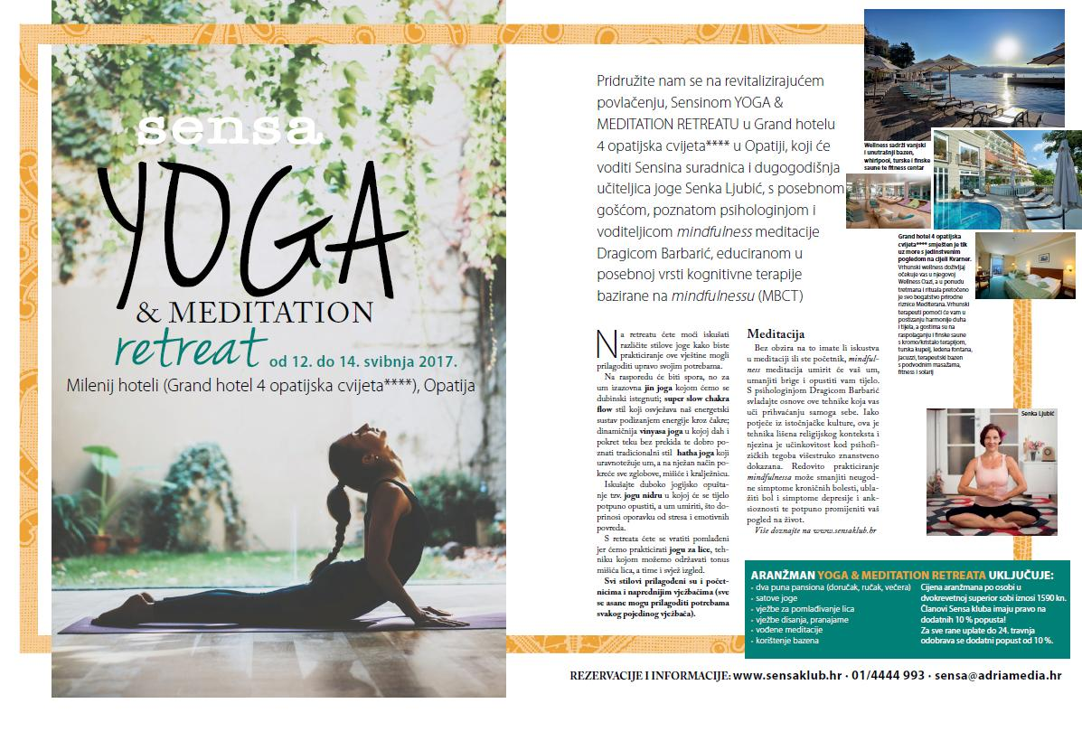 SENSA YOGA MEDITATION RETREAT 12. -14. svibnja 2017.